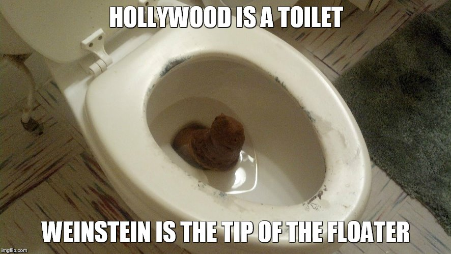 Weinstein is the Tip of the Floater | HOLLYWOOD IS A TOILET WEINSTEIN IS THE TIP OF THE FLOATER | image tagged in harvey weinstein | made w/ Imgflip meme maker