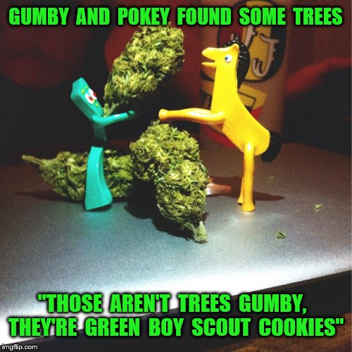 "GUMBY  AND  POKEY  FOUND  SOME  TREES ""THOSE  AREN'T  TREES  GUMBY,  THEY'RE  GREEN  BOY  SCOUT  COOKIES"" 