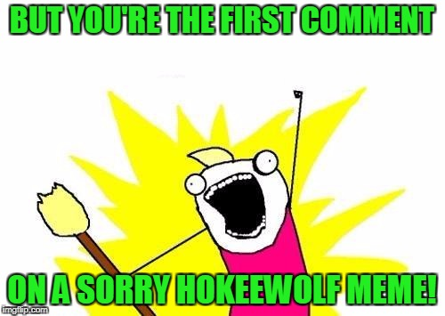 X All The Y Meme | BUT YOU'RE THE FIRST COMMENT ON A SORRY HOKEEWOLF MEME! | image tagged in memes,x all the y | made w/ Imgflip meme maker