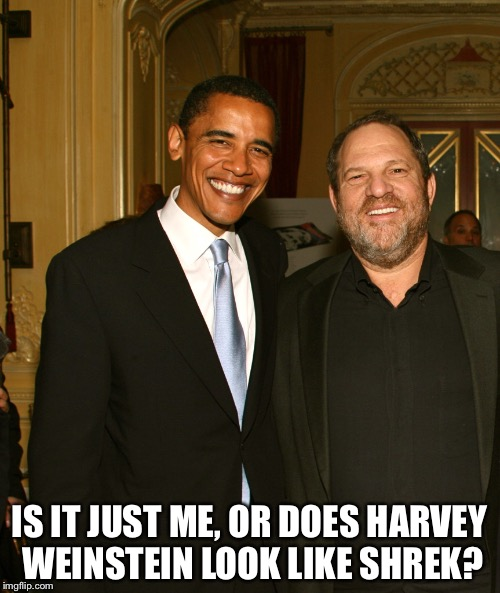 Harvey Weinstein and Obama | IS IT JUST ME, OR DOES HARVEY WEINSTEIN LOOK LIKE SHREK? | image tagged in harvey weinstein and obama | made w/ Imgflip meme maker