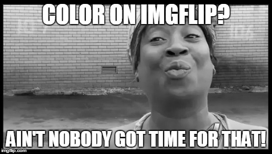 COLOR ON IMGFLIP? AIN'T NOBODY GOT TIME FOR THAT! | made w/ Imgflip meme maker