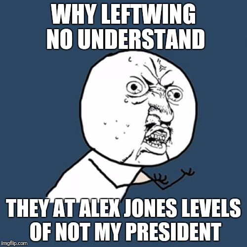 Y U No Meme | WHY LEFTWING NO UNDERSTAND THEY AT ALEX JONES LEVELS OF NOT MY PRESIDENT | image tagged in memes,y u no | made w/ Imgflip meme maker