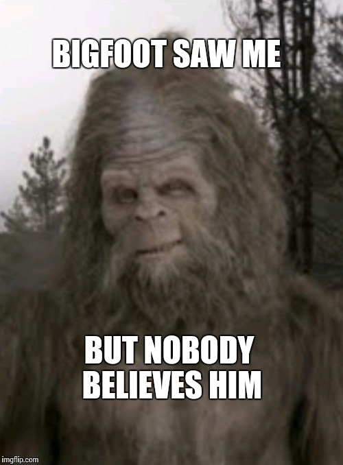 Bigfoot lies | BIGFOOT SAW ME BUT NOBODY BELIEVES HIM | image tagged in bigfoot,original meme,new meme | made w/ Imgflip meme maker