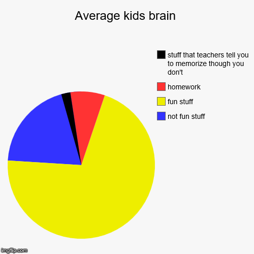 Average kids brain | not fun stuff, fun stuff, homework, stuff that teachers tell you to memorize though you don't | image tagged in funny,pie charts | made w/ Imgflip pie chart maker