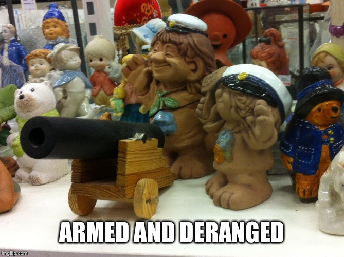 ARMED AND DERANGED | image tagged in trollpower | made w/ Imgflip meme maker