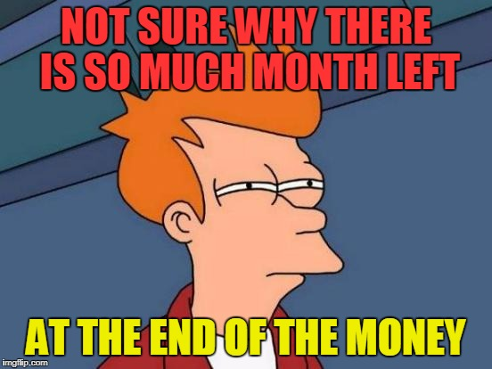 Futurama Fry Meme | NOT SURE WHY THERE IS SO MUCH MONTH LEFT AT THE END OF THE MONEY | image tagged in memes,futurama fry | made w/ Imgflip meme maker