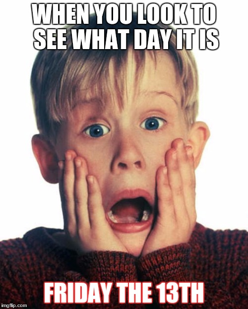 OH NUUUUUUUU ITS FRIDAY THE 13TH!!!!!!!!!!!!!!!!!! | WHEN YOU LOOK TO SEE WHAT DAY IT IS FRIDAY THE 13TH | image tagged in home alone scream | made w/ Imgflip meme maker