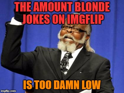 Too Damn High Meme | THE AMOUNT BLONDE JOKES ON IMGFLIP IS TOO DAMN LOW | image tagged in memes,too damn high | made w/ Imgflip meme maker