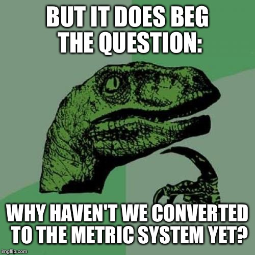 Philosoraptor Meme | BUT IT DOES BEG THE QUESTION: WHY HAVEN'T WE CONVERTED TO THE METRIC SYSTEM YET? | image tagged in memes,philosoraptor | made w/ Imgflip meme maker