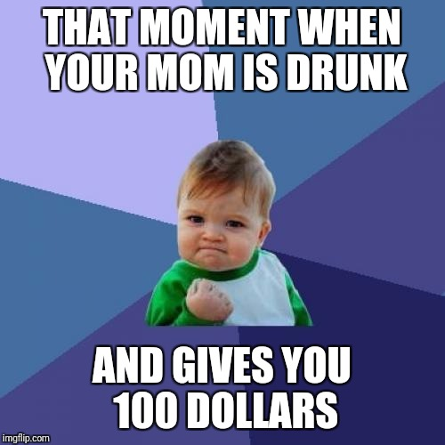 Success Kid Meme | THAT MOMENT WHEN YOUR MOM IS DRUNK AND GIVES YOU 100 DOLLARS | image tagged in memes,success kid | made w/ Imgflip meme maker