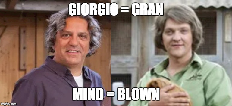 Giorgio = Gran | GIORGIO = GRAN MIND = BLOWN | image tagged in giorgio,angry boys,mind blown,look alike,gran,chris lilley | made w/ Imgflip meme maker
