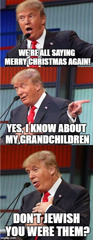 The Mad Moel | WE'RE ALL SAYING MERRY CHRISTMAS AGAIN! DON'T JEWISH YOU WERE THEM? YES, I KNOW ABOUT MY GRANDCHILDREN | image tagged in bad pun trump,merry christmas,donald trump | made w/ Imgflip meme maker