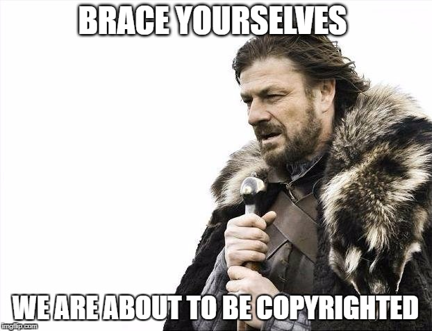Brace Yourselves X is Coming Meme | BRACE YOURSELVES WE ARE ABOUT TO BE COPYRIGHTED | image tagged in memes,brace yourselves x is coming | made w/ Imgflip meme maker