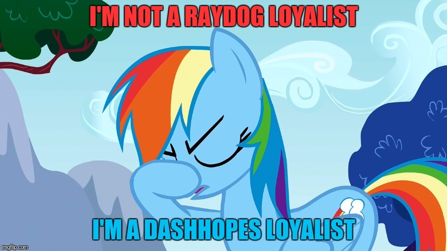 I'M NOT A RAYDOG LOYALIST I'M A DASHHOPES LOYALIST | made w/ Imgflip meme maker