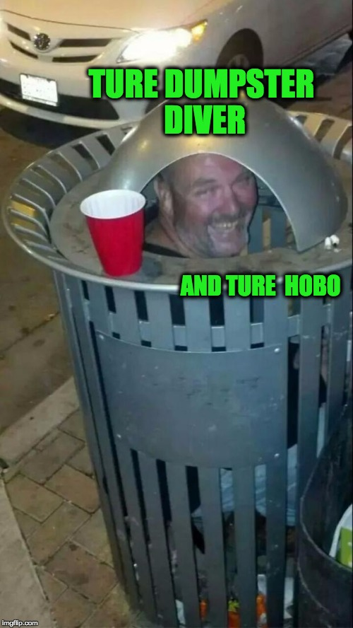 trashcan drunk | TURE DUMPSTER DIVER AND TURE  HOBO | image tagged in trashcan drunk,memes,funny | made w/ Imgflip meme maker