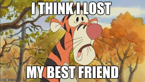 I THINK I LOST MY BEST FRIEND | image tagged in sad tigger | made w/ Imgflip meme maker