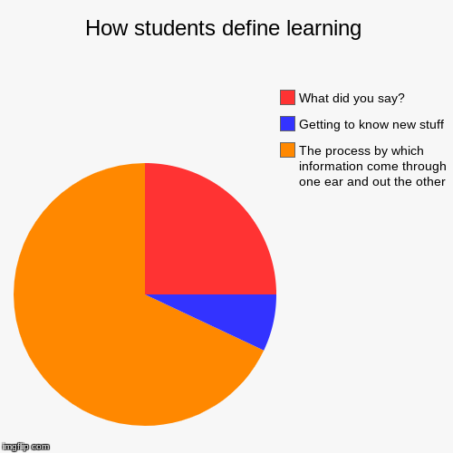 How students define learning | The process by which information come through one ear and out the other, Getting to know new stuff, What did  | image tagged in funny,pie charts | made w/ Imgflip pie chart maker
