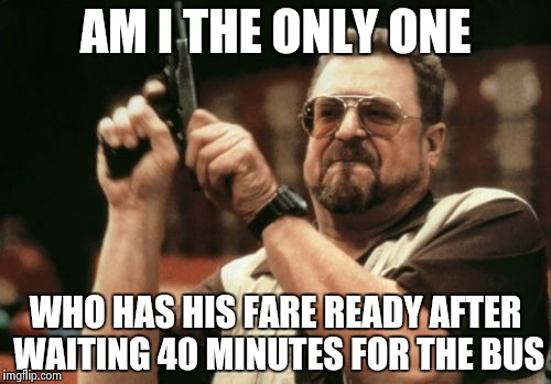 Another pet peeve , just pay and sit down already ! | AM I THE ONLY ONE WHO HAS HIS FARE READY AFTER WAITING 40 MINUTES FOR THE BUS | image tagged in memes,am i the only one around here,bus stop,get ready for,ride | made w/ Imgflip meme maker