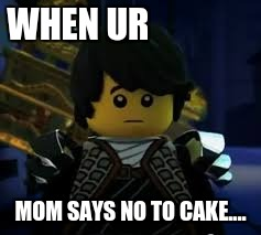 WHEN UR MOM SAYS NO TO CAKE.... | image tagged in coleninjago | made w/ Imgflip meme maker