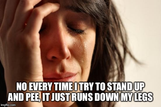First World Problems Meme | NO EVERY TIME I TRY TO STAND UP AND PEE, IT JUST RUNS DOWN MY LEGS | image tagged in memes,first world problems | made w/ Imgflip meme maker