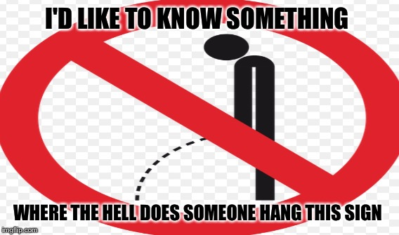 I'D LIKE TO KNOW SOMETHING WHERE THE HELL DOES SOMEONE HANG THIS SIGN | image tagged in warning sign | made w/ Imgflip meme maker