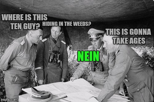 HIDING IN THE WEEDS? THIS IS GONNA TAKE AGES NEIN WHERE IS THIS TEN GUY? | made w/ Imgflip meme maker