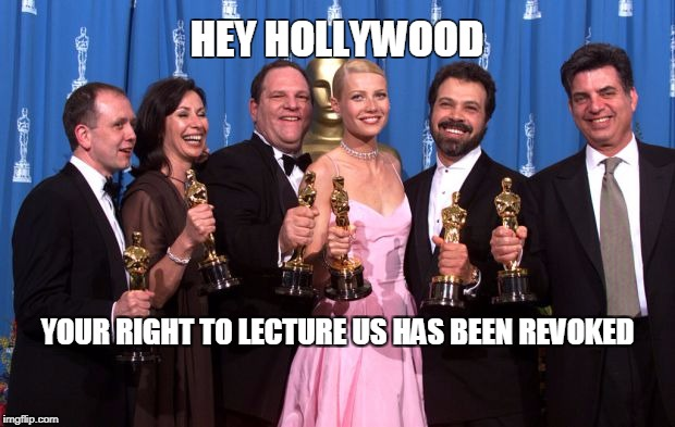 HEY HOLLYWOOD YOUR RIGHT TO LECTURE US HAS BEEN REVOKED | image tagged in harvey | made w/ Imgflip meme maker