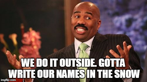 Steve Harvey Meme | WE DO IT OUTSIDE. GOTTA WRITE OUR NAMES IN THE SNOW | image tagged in memes,steve harvey | made w/ Imgflip meme maker