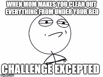 Challenge Accepted Rage Face Meme | WHEN MOM MAKES YOU CLEAN OUT EVERYTHING FROM UNDER YOUR BED CHALLENGE EXCEPTED | image tagged in memes,challenge accepted rage face | made w/ Imgflip meme maker