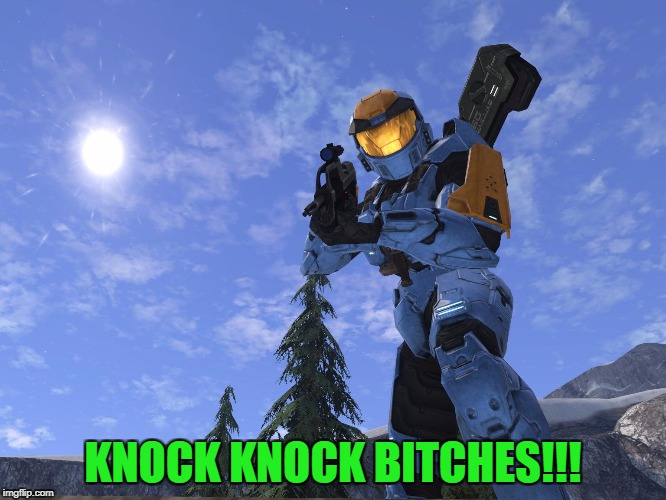 Demonic Penguin Halo 3 | KNOCK KNOCK B**CHES!!! | image tagged in demonic penguin halo 3 | made w/ Imgflip meme maker