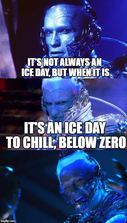 Bad pun Mr Freeze | IT'S NOT ALWAYS AN ICE DAY, BUT WHEN IT IS IT'S AN ICE DAY TO CHILL, BELOW ZERO | image tagged in bad pun mr freeze | made w/ Imgflip meme maker