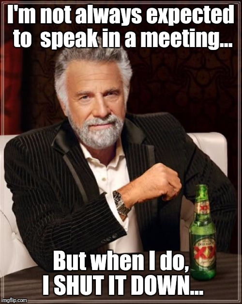 The Most Interesting Man In The World Meme | I'm not always expected to  speak in a meeting... But when I do, I SHUT IT DOWN... | image tagged in memes,the most interesting man in the world | made w/ Imgflip meme maker