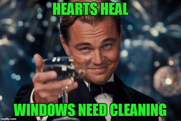 Leonardo Dicaprio Cheers Meme | HEARTS HEAL WINDOWS NEED CLEANING | image tagged in memes,leonardo dicaprio cheers | made w/ Imgflip meme maker