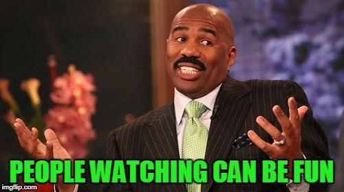 Steve Harvey Meme | PEOPLE WATCHING CAN BE FUN | image tagged in memes,steve harvey | made w/ Imgflip meme maker