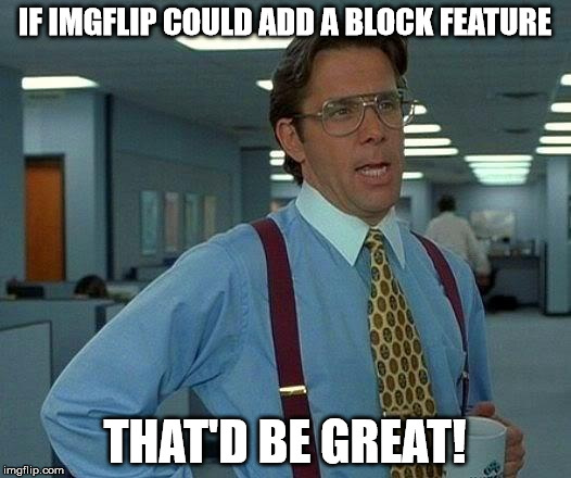 Get on this ASAP imgflip! | IF IMGFLIP COULD ADD A BLOCK FEATURE THAT'D BE GREAT! | image tagged in memes,that would be great,imgflip,imgflip users,block | made w/ Imgflip meme maker