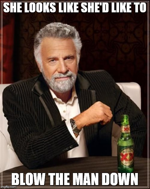 The Most Interesting Man In The World Meme | SHE LOOKS LIKE SHE'D LIKE TO BLOW THE MAN DOWN | image tagged in memes,the most interesting man in the world | made w/ Imgflip meme maker