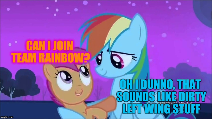 CAN I JOIN TEAM RAINBOW? OH I DUNNO, THAT SOUNDS LIKE DIRTY LEFT WING STUFF | made w/ Imgflip meme maker