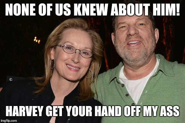NONE OF US KNEW ABOUT HIM! HARVEY GET YOUR HAND OFF MY ASS | image tagged in meryl streep with harvey weinstein | made w/ Imgflip meme maker