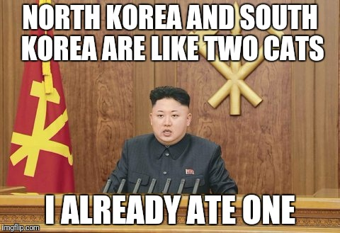 NORTH KOREA AND SOUTH KOREA ARE LIKE TWO CATS I ALREADY ATE ONE | made w/ Imgflip meme maker