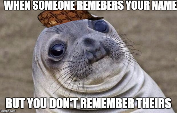 Awkward Moment Sealion Meme | WHEN SOMEONE REMEBERS YOUR NAME BUT YOU DON'T REMEMBER THEIRS | image tagged in memes,awkward moment sealion,scumbag | made w/ Imgflip meme maker