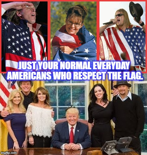 Americans Who Respect Our Flag | JUST YOUR NORMAL EVERYDAY AMERICANS WHO RESPECT THE FLAG. | image tagged in american flag,national anthem,kid rock,sarah palin,ted nugent,hypocrisy | made w/ Imgflip meme maker