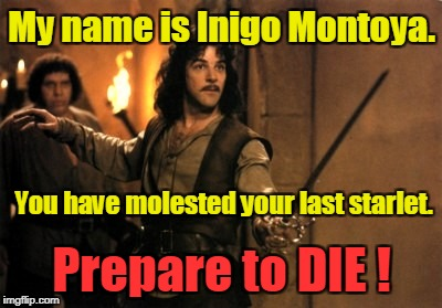 Inigo Montoya protects starlets! | My name is Inigo Montoya. Prepare to DIE ! You have molested your last starlet. | image tagged in inigo montoya,weinstein,george clooney,seth rogan,hollywood,bill clinton | made w/ Imgflip meme maker
