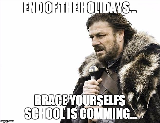 Brace Yourselves X is Coming | END OF THE HOLIDAYS... BRACE YOURSELFS SCHOOL IS COMMING... | image tagged in memes,brace yourselves x is coming | made w/ Imgflip meme maker
