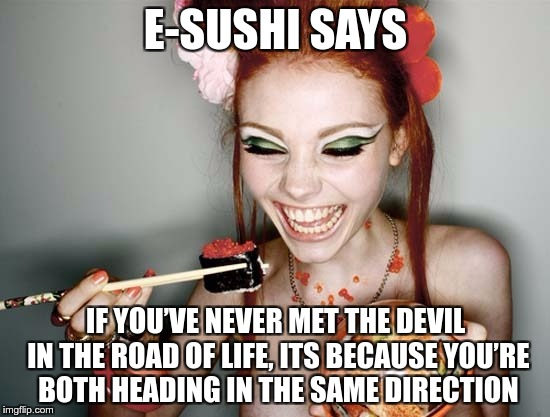 E-SUSHI'S WONDERFULL WISDOM FOR THE MASSES | E-SUSHI SAYS IF YOU'VE NEVER MET THE DEVIL IN THE ROAD OF LIFE, ITS BECAUSE YOU'RE BOTH HEADING IN THE SAME DIRECTION | image tagged in sushi,e-sushi,memes,funny,devil,road | made w/ Imgflip meme maker