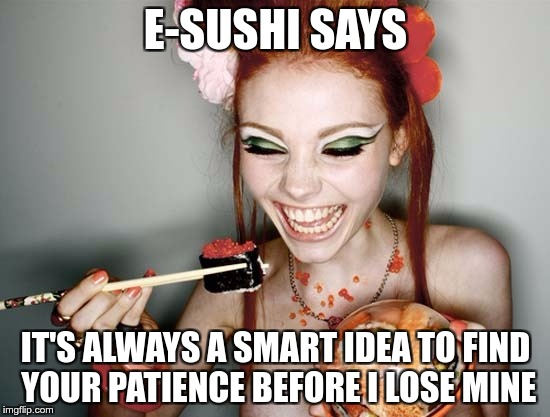 E-SUSHI'S WONDERFUL WISDOM FOR THE MASSES | E-SUSHI SAYS IT'S ALWAYS A SMART IDEA TO FIND YOUR PATIENCE BEFORE I LOSE MINE | image tagged in sushi,e-sushi,memes,funny,patience,smart | made w/ Imgflip meme maker