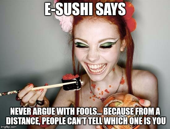E-SUSHI'S WONDERFUL WISDOM FOR THE MASSES | E-SUSHI SAYS NEVER ARGUE WITH FOOLS… BECAUSE FROM A DISTANCE, PEOPLE CAN'T TELL WHICH ONE IS YOU | image tagged in sushi,e-sushi,memes,funny,argue,fools | made w/ Imgflip meme maker