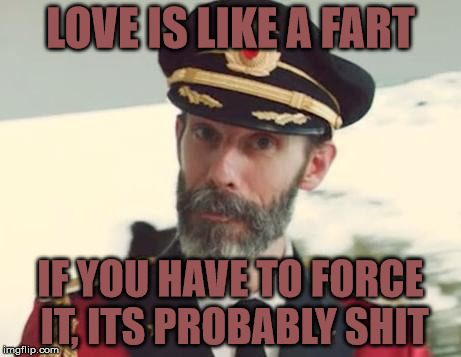 Don't force it | LOVE IS LIKE A FART IF YOU HAVE TO FORCE IT, ITS PROBABLY SHIT | image tagged in captain obvious,memes,force,shit,fart,love | made w/ Imgflip meme maker