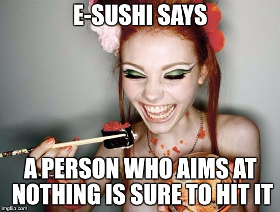 E-SUSHI'S WONDERFUL WISDOM FOR THE MASSES | E-SUSHI SAYS A PERSON WHO AIMS AT NOTHING IS SURE TO HIT IT | image tagged in sushi,e-sushi,funny,memes,aim,hit | made w/ Imgflip meme maker