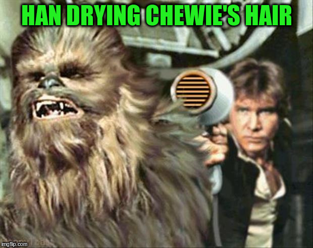 HAN DRYING CHEWIE'S HAIR | made w/ Imgflip meme maker