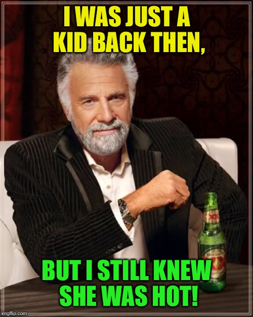 The Most Interesting Man In The World Meme | I WAS JUST A KID BACK THEN, BUT I STILL KNEW SHE WAS HOT! | image tagged in memes,the most interesting man in the world | made w/ Imgflip meme maker